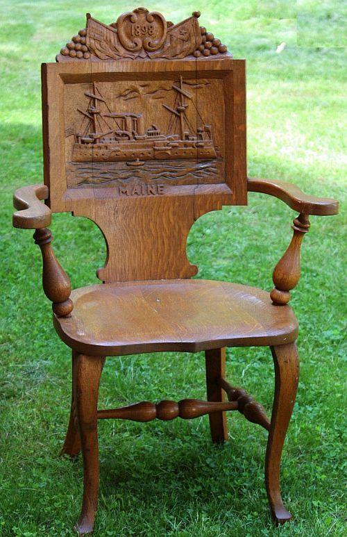 Antique Carved Oak Chair, 1898 Battleship Maine, Spanish American War.