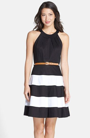 Eliza J Stripe Skirt Cotton Sateen Fit & Flare Dress available at #Nordstrom