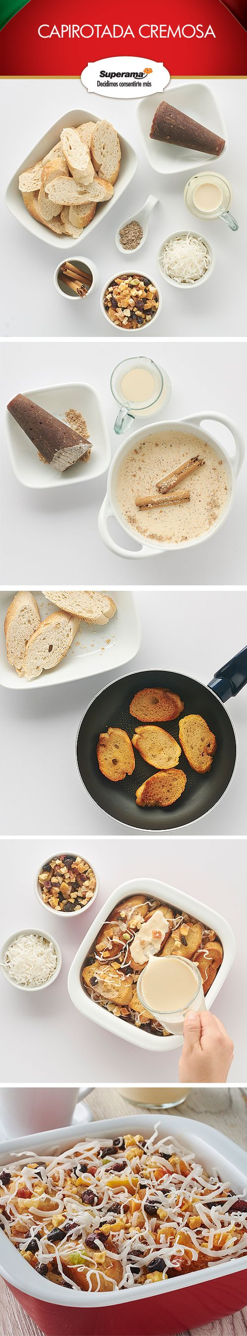 #Capirotada cremosa: Hierve 1 lata de leche evaporada con 1 cdita. de cardamomo molido, 1 rama de canela y ½ tz. de piloncillo rallado. Cocina por 7 min., cuela y refrigera. Corta 1 baguette en rodajas, fríelas y escurre en papel absorbente. Acomoda una cama de pan en un molde, añade 3 cditas. de frutos secos mixtos y 2 cdas. de coco rallado; repite hasta llenar el molde. Vierte la leche y refrigera.