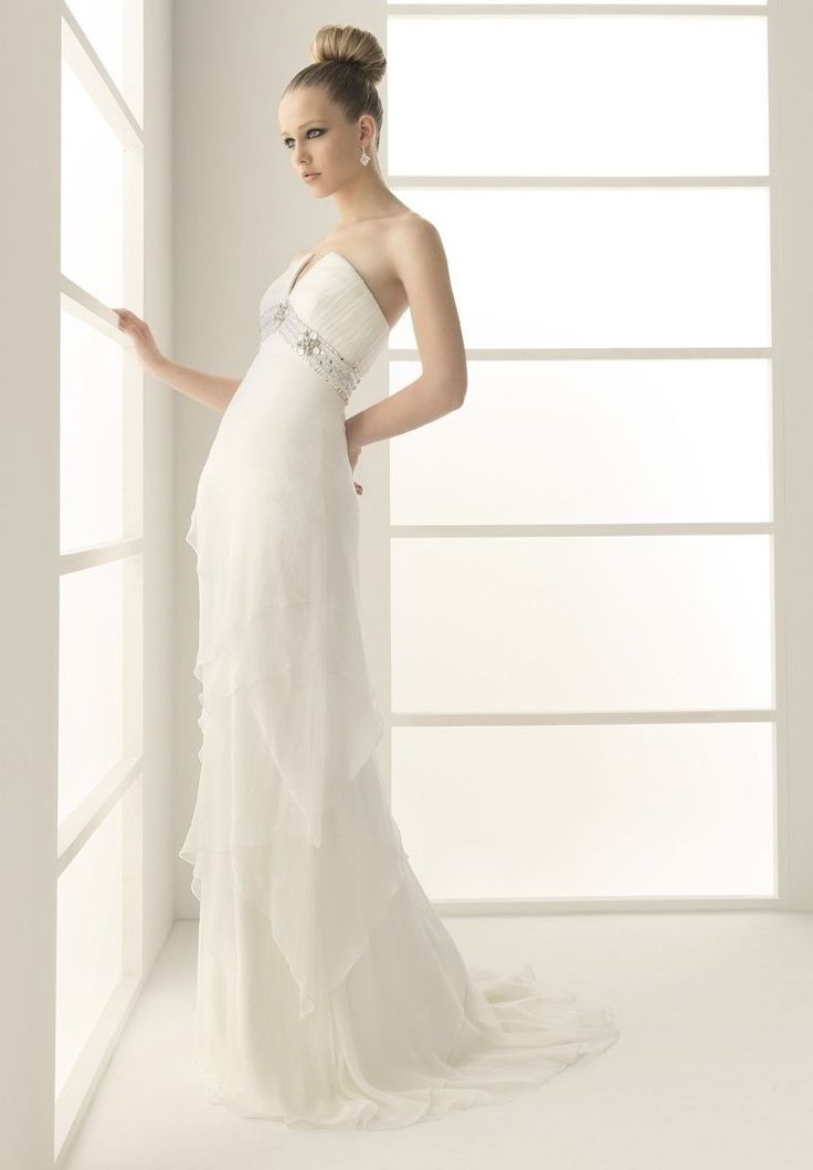 1.Strapless A-line Chiffon Sexy Wedding Dress  2.Sexy Wedding Dress with Sequins and Beading Detail at Waistband  3.Floor Length Wedding Dress with train