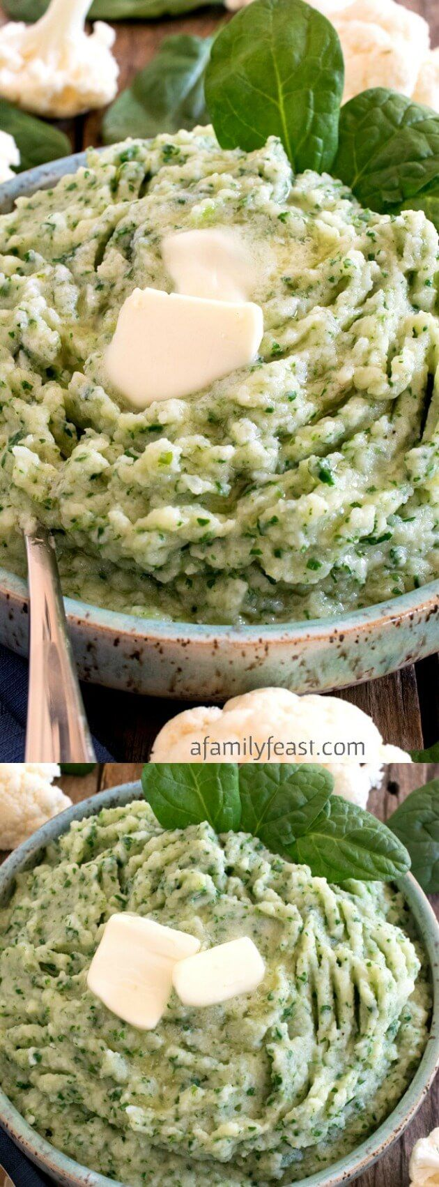 This Mashed Cauliflower and Spinach recipe from A Family Feast is an easy and tasty way to eat your veggies! It's a super flavorful dish with onion, spinach, butter, and seasoning!