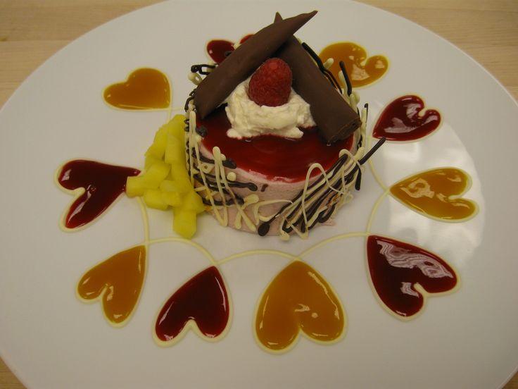 Raspberry Bavarian Plated Dessert | plated desserts ...