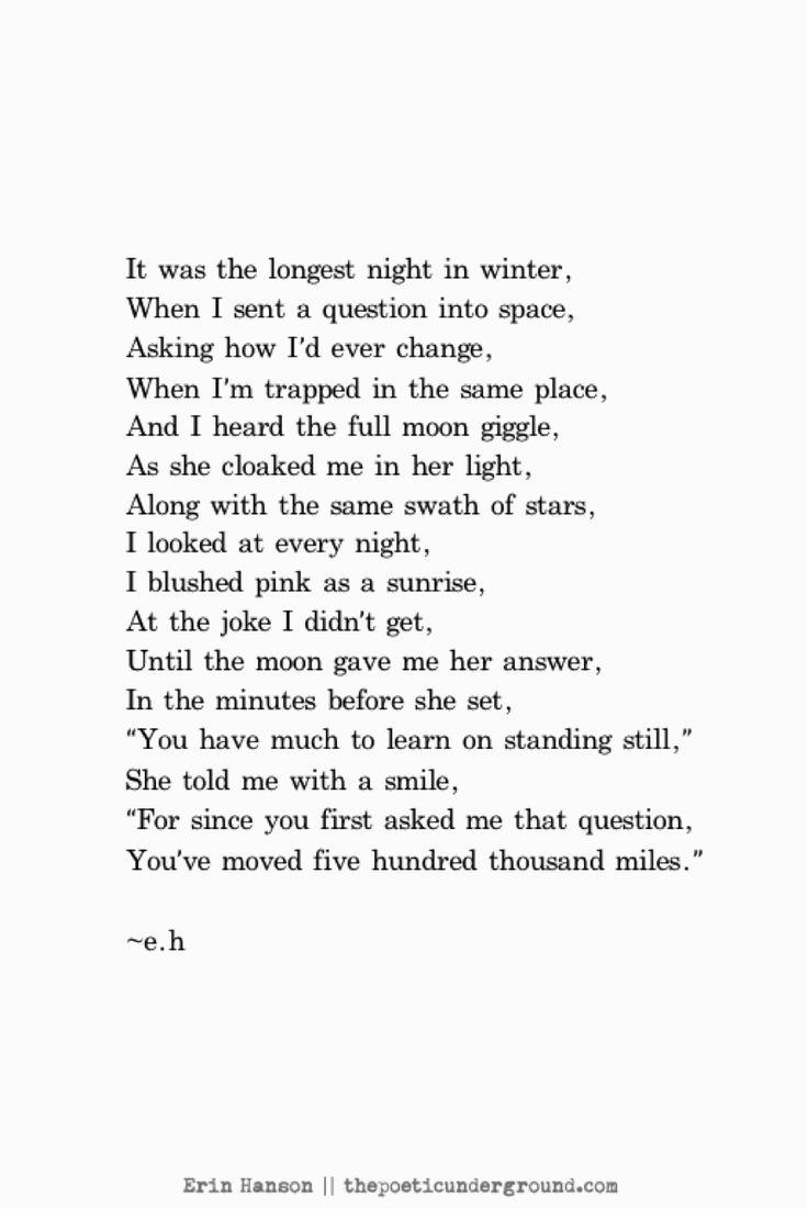 It was the longest night in winter Erin Hanson