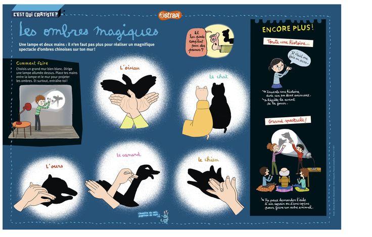 Les ombres magiques. Pour animer les soirées spectacle ou les histoires, découvre comment faire un ours ou un oiseau avec tes deux mains et une lampe. (Extrait du magazine Astrapi n°801, pour les enfants de 7 à 11 ans)