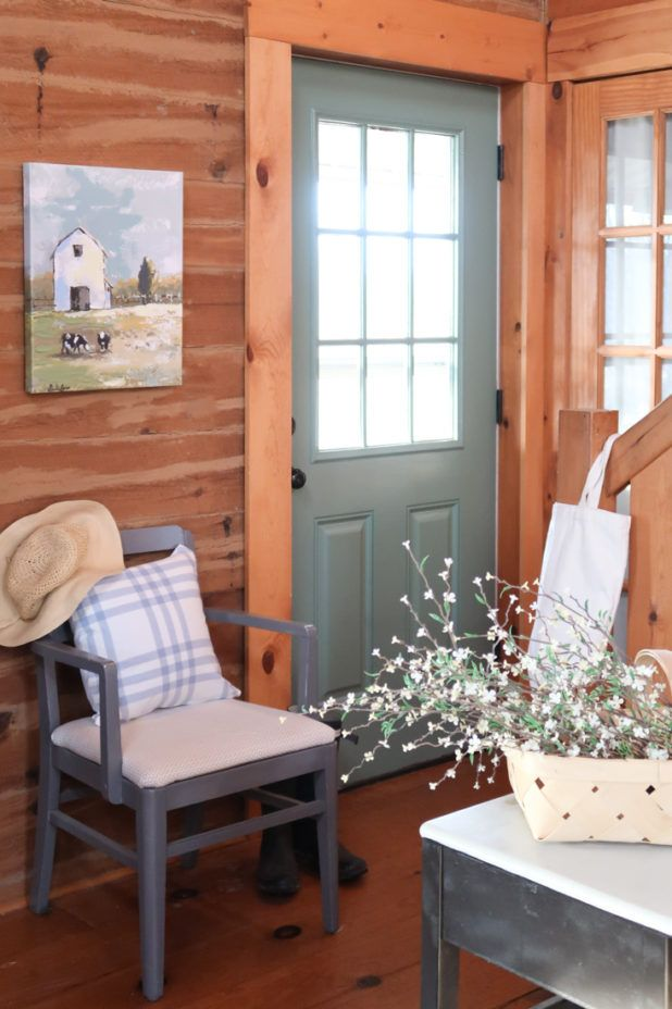 Painted Door In Sherwin Williams Privilege Green Creative Cain Cabin Cabin Interiors Log Home Interiors Log Cabin Exterior