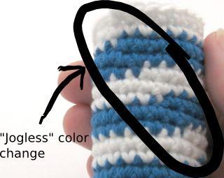crocheted jogless stripes example photo