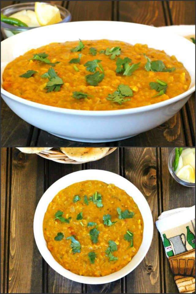Dal Fry is a very delicious, irresisitable and a popular North Indian dish prepared using split yellow lentil / toor dal, onion, garlic cloves, tomatoes and spices. This dish is vegan and gluten free and tastes the best when served with Jeera Rice, Flatbread / Naan or any Indian bread.