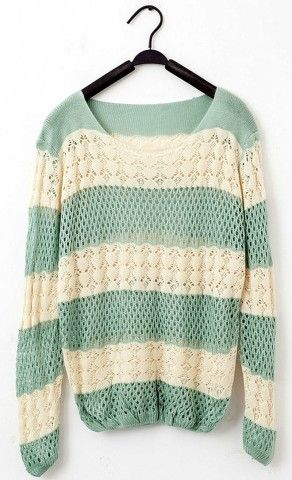 Sweet Style Loose-Fitting Color Splicing Openwork Fish Net Knitting Sweaters For Women