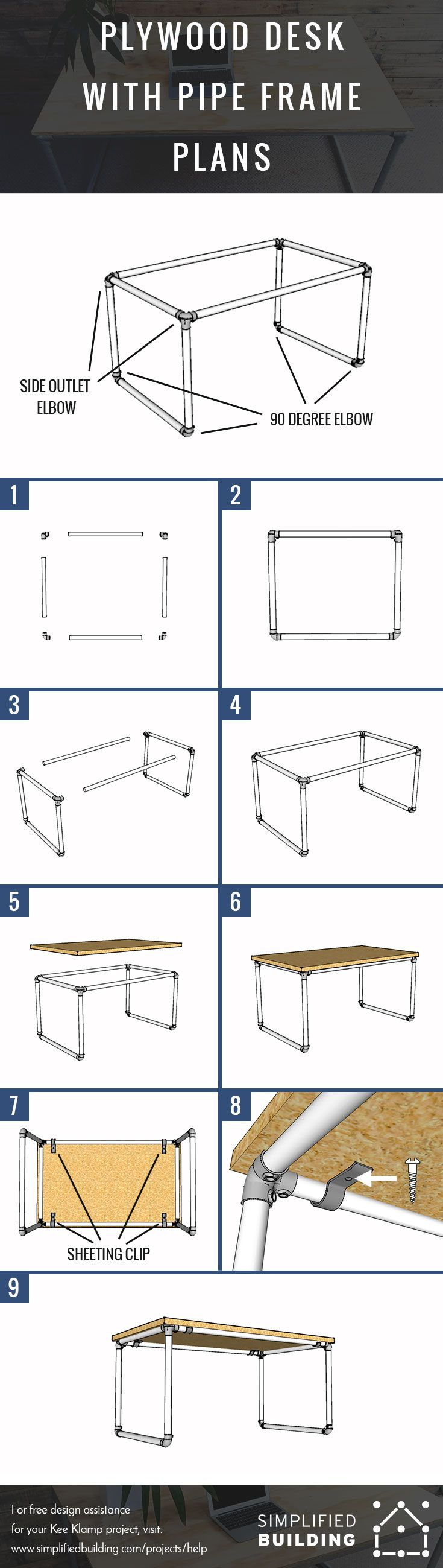 Plywood Desk with Pipe Frame Plans  #KeeKlamp #DIY #pipedesk #pipefurniture