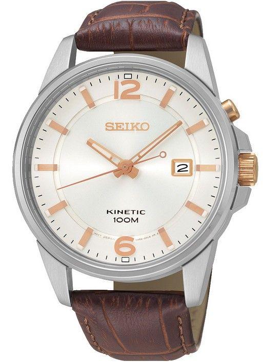 Montre Seiko Kinetic SKA669P1 homme avec bracelet en cuir marron et cadran blanc, mouvement cinétique avec 6 mois de réserve de marche.