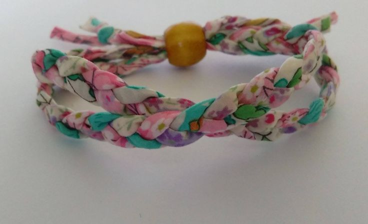 Colourful Liberty Print fabric bracelet by BeelineEmporium on Etsy