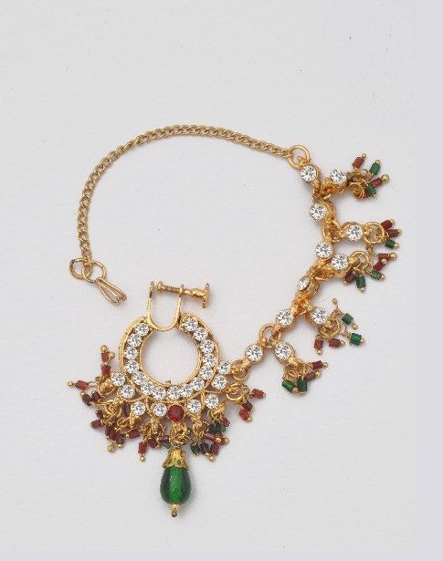 Red and Green crystal jeweled ethnic gold Indian Nath Nose Ring with Chain on Etsy, $38.00