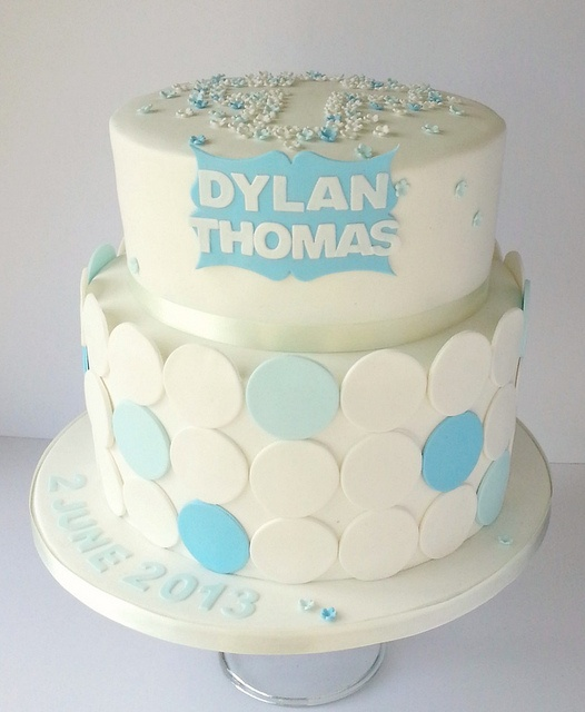 Blossom and polka dot baby blue christening cake