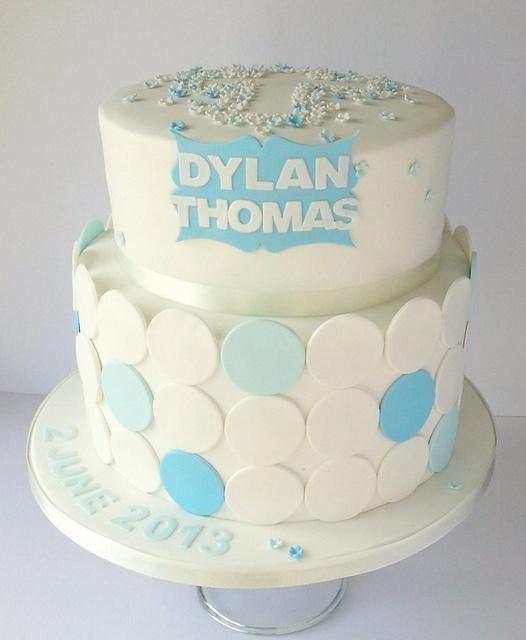 Blossom and polka dot baby blue christening cake