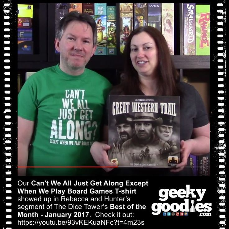 This is great!  My  Can't We All Just Get Along Except When We Play Board Games T-shirt showed up in Rebecca and Hunter's segment of The Dice Tower's Best of the Month - January 2017.   >>> Check it out:  https://youtu.be/93vKEKuaNFc  #tshirt #shirt #tee #DiceTower #RebeccaAndHunter #BoardGame #reviewers #Tabletop #game #reviews #BoardGameReviews #tshirts #shirts #tees #DiceTower #TheDiceTower #CantWeAllGetAlong #GeekyGoodies