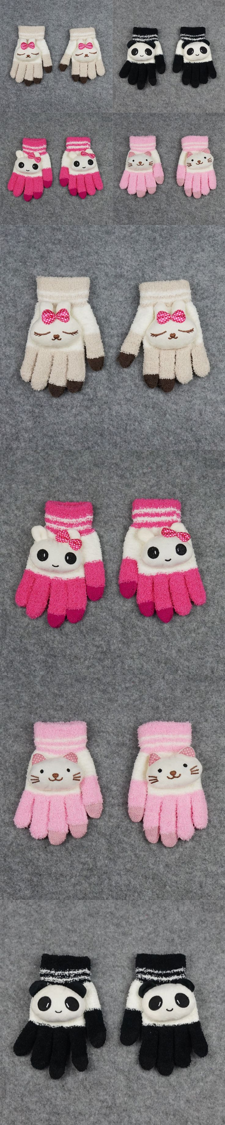 Warm Winter Fleece Children 's Cartoon Gloves Clothing Accessories Size Free 4 Color Practical