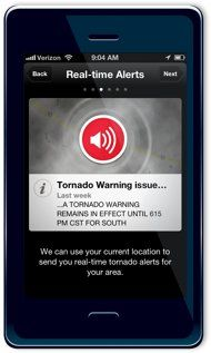 The Red Cross Tornado app offers local alerts when a storm is about to hit