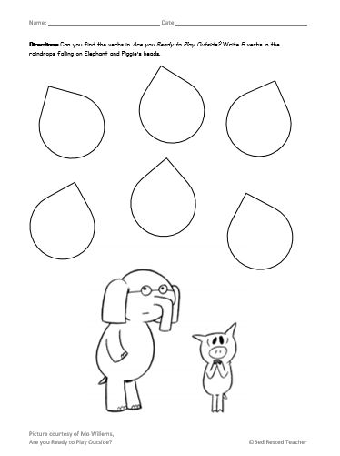 Free Raindrop Verb Worksheet To Go With Are You Ready To Go Outside