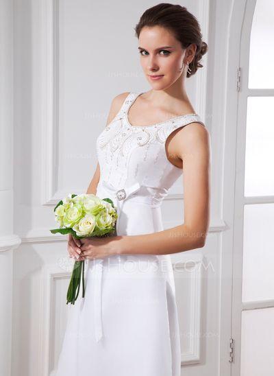 A-Linie/Princess-Linie U-Ausschnitt Tee-Länge Organza Satin Brautkleid mit Schleifenbänder/Stoffgürtel Perlen verziert Schleife(n) (002015483)