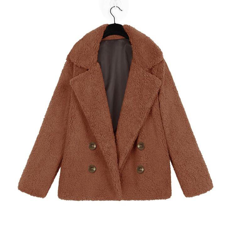 Fleece Faux Fur Teddy Bear Jacket Coat Women Winter Outerwear