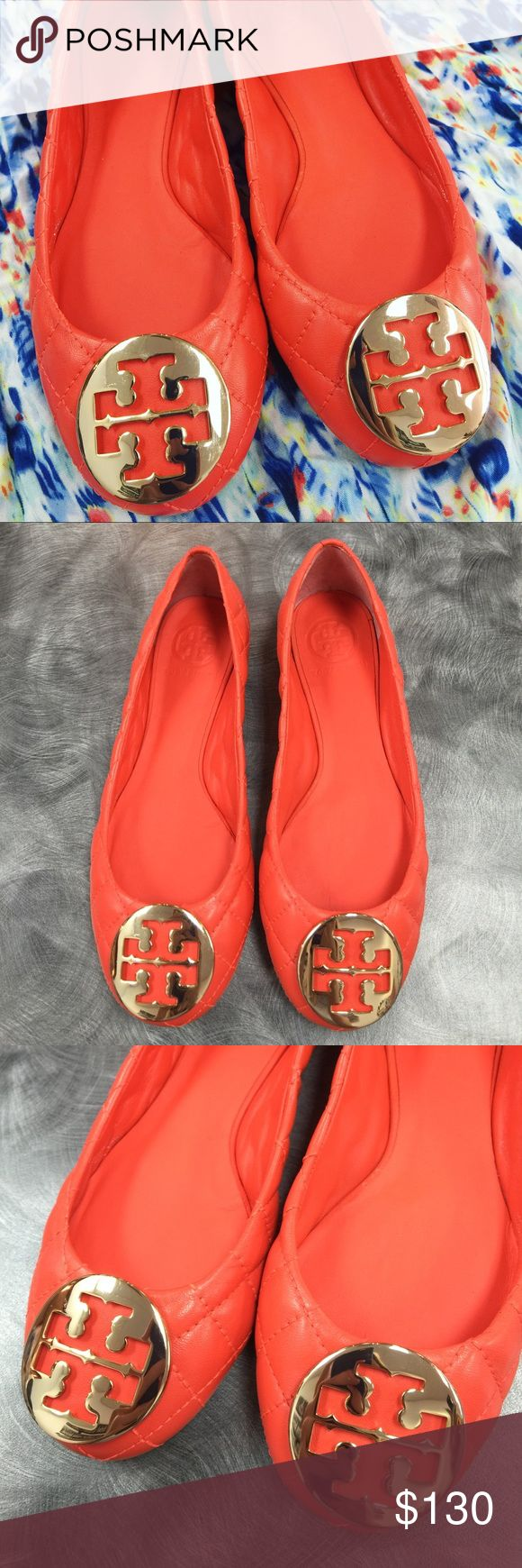 Tory Burch Orange Minnie Ballet Flats Leather In brand new condition! They were worn once but don't look worn. There is no scratches on the emblems. Very clean. Will come with a Tory Burch box. Yes authentic. No trades. Serious offers only please. :) Tory Burch Shoes Flats & Loafers