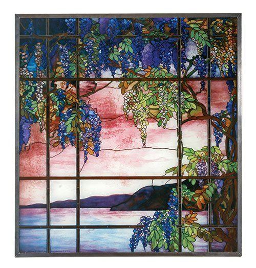 "Tiffany+Style+""VIEW+OF+OYSTER+BAY""+Stained+Art+Glass+Panel+Hanging+Display"