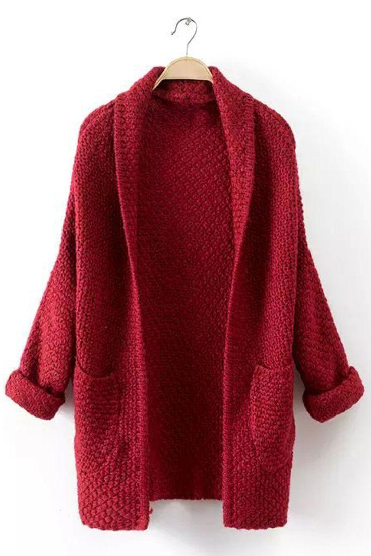 Vintage Burgundy Long Sleeve Lapel Pockets Cardigan