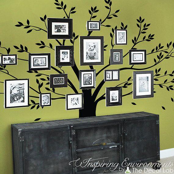 Family gallery tree wall decal, family photo tree wall decal, interior design decor ideas, vinyl wall stickers, baby nursery decor