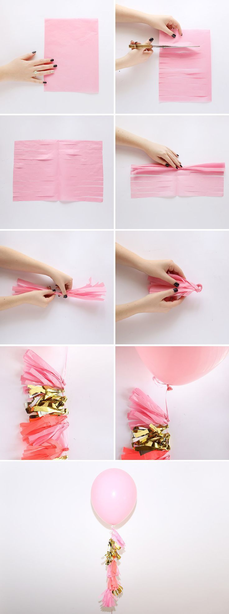 How to make tassels for your balloons. (Landing page is in Spanish, but the images speak for themselves!)