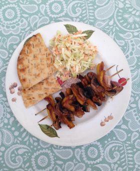 Teriyaki Jackfruit Kebabs served with Homemade Coleslaw and Pita.
