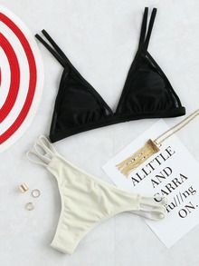Black And White Mix & Match Cutout Triangle Bikini Set