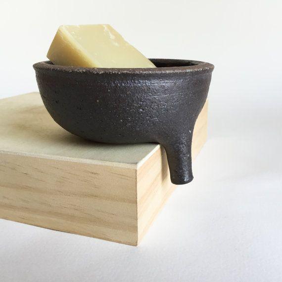 PLATO de jabón negro con filtro para baño fregadero, cerámica, cerámica, hecho a mano