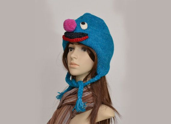 Blue woolen animal hat   warm hat  knit hat  by HatsMittensEtc
