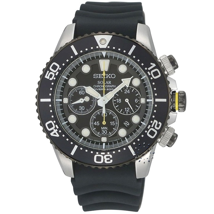 SEIKO Solar Divers Chronograph Black Rubber Strap, 338€ http://www.oroloi.gr/product_info.php?products_id=28892