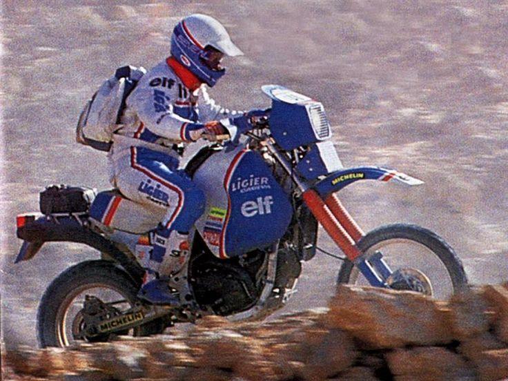 Hubert Auriol, Cagiva Ligier 750, Dakar Rally 1985.