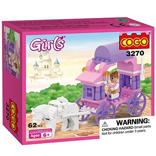 COGO Girls Carriage for Princess Toys for Girls Small toys Cheap Kids Toys Building Bricks 62 Pieces - 3270