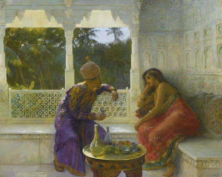 Edwin Lord Weeks 1849 - 1903 AMERICAN FIGURES IN AN INTERIOR WITH GARDEN OF PALMS BEYOND signed E.L. Weeks (lower right) oil on canvas 32 by 39 1/2 in. 81.3 by 100.3 cm: