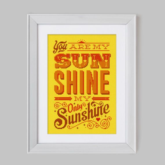 You are my Sunshine - Cross Stitch Pattern (Digital Format - PDF) on Etsy, $14.52
