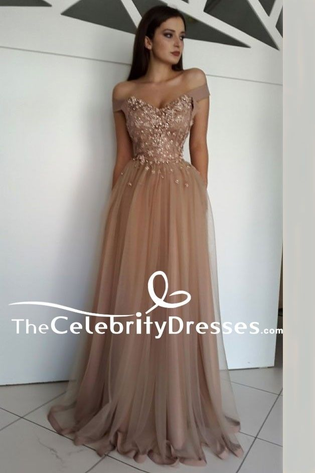 8a0f0b5e4a2ad Floor Length Off Shoulder A-Line Beaded Formal Dress Evening Gown TCDFD7973  in 2019 | 2018 Wedding Dresses | Formal dresses, Prom dresses, Evening gowns