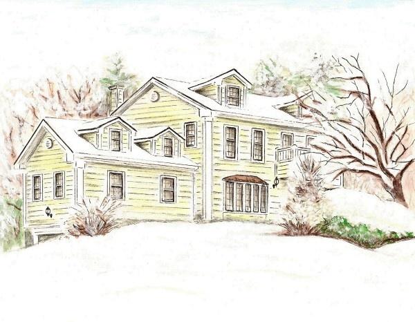 Custom Illustrated House Portrait 8x10. $75.00, via Etsy.