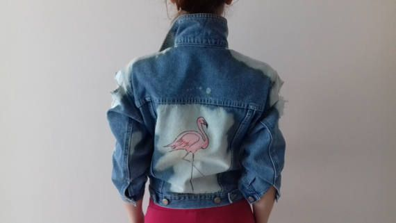 Distressed Ripped Decorated Flamingo painted Denim Jaket