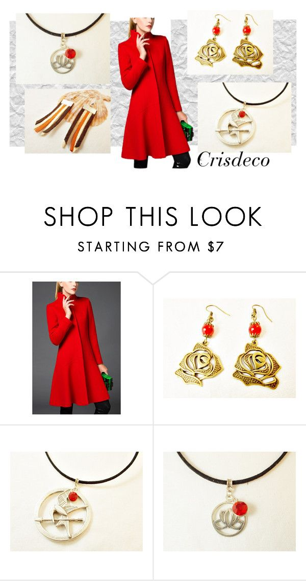 """Red in winter"" by cristina-birau on Polyvore featuring modern, red, Leather, necklace and earrings"