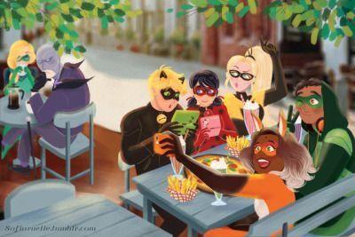 Miraculous Heroes having dinner