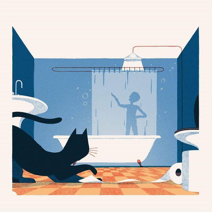 - 6d3cc7e232e52a2592de7c39ee7d2909 - Singing in the shower. An illustration by David Doran . . . #singing #shower #sing #music #cat #procreate #illustration…