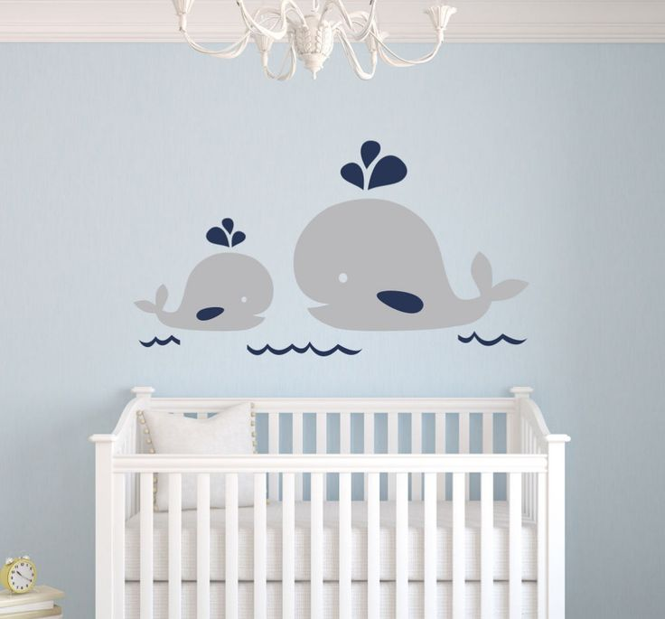 Nautical Mom and Baby Whale Vinyl Wall Decal Nautical Decor Baby Nursery Wall Decals Wall stickers For Kids Room Mural Art D676