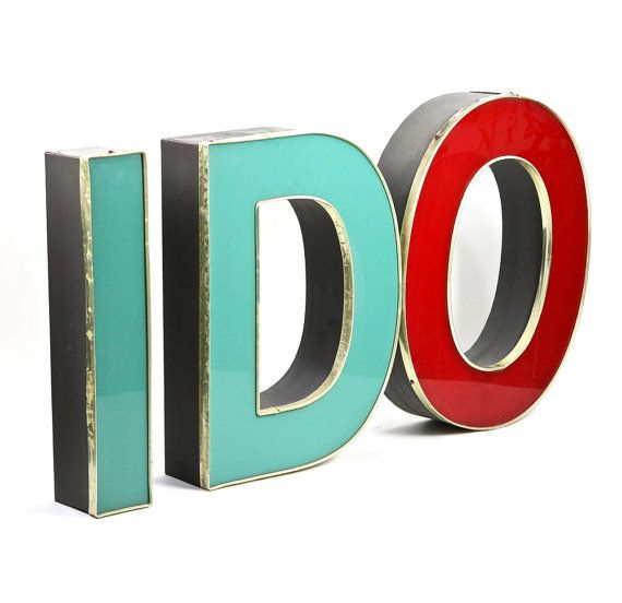 Metal Letters Vintage Metal Letters For Wall I Do by HuntandFound