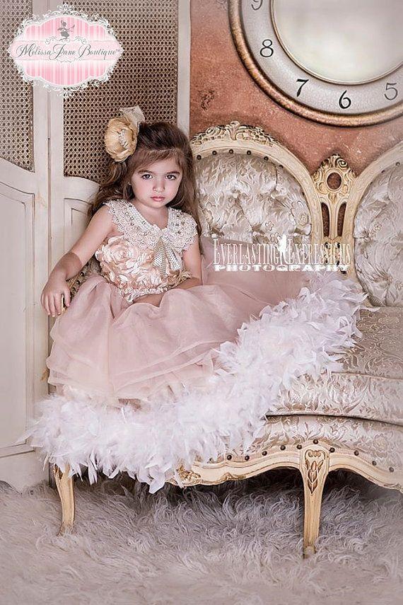 Dreamy Rosette Vintage Flower Girl Dress
