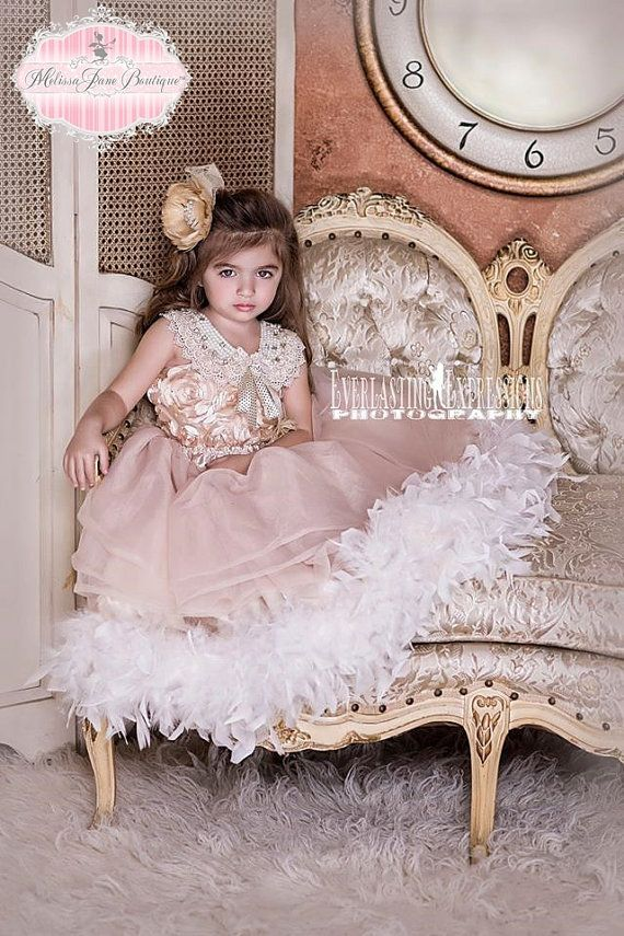 Dreamy Rosette Vintage Flower Girl Dress by MelissaJaneBoutique, $144.00