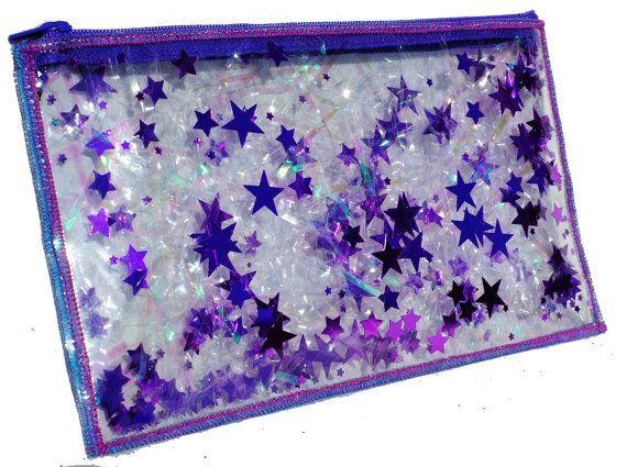 Purple Pencil Case Travel Makeup Bag Iridescent от GlitterDisaster