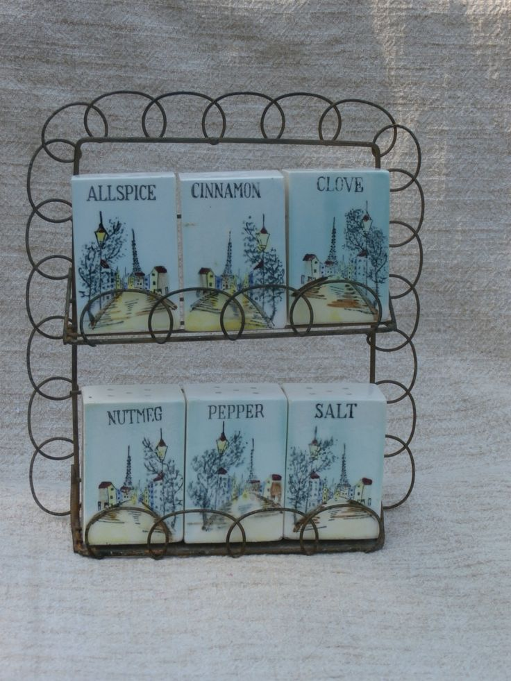 Vintage Wire Spice Rack with Eiffel Tower Ceramic Containers, Japan Made Ceramic http://etsy.me/2jjsFE4 #housewares #figurine #teamwwes #japanmade #shaker #salt #pepper #france #francophile